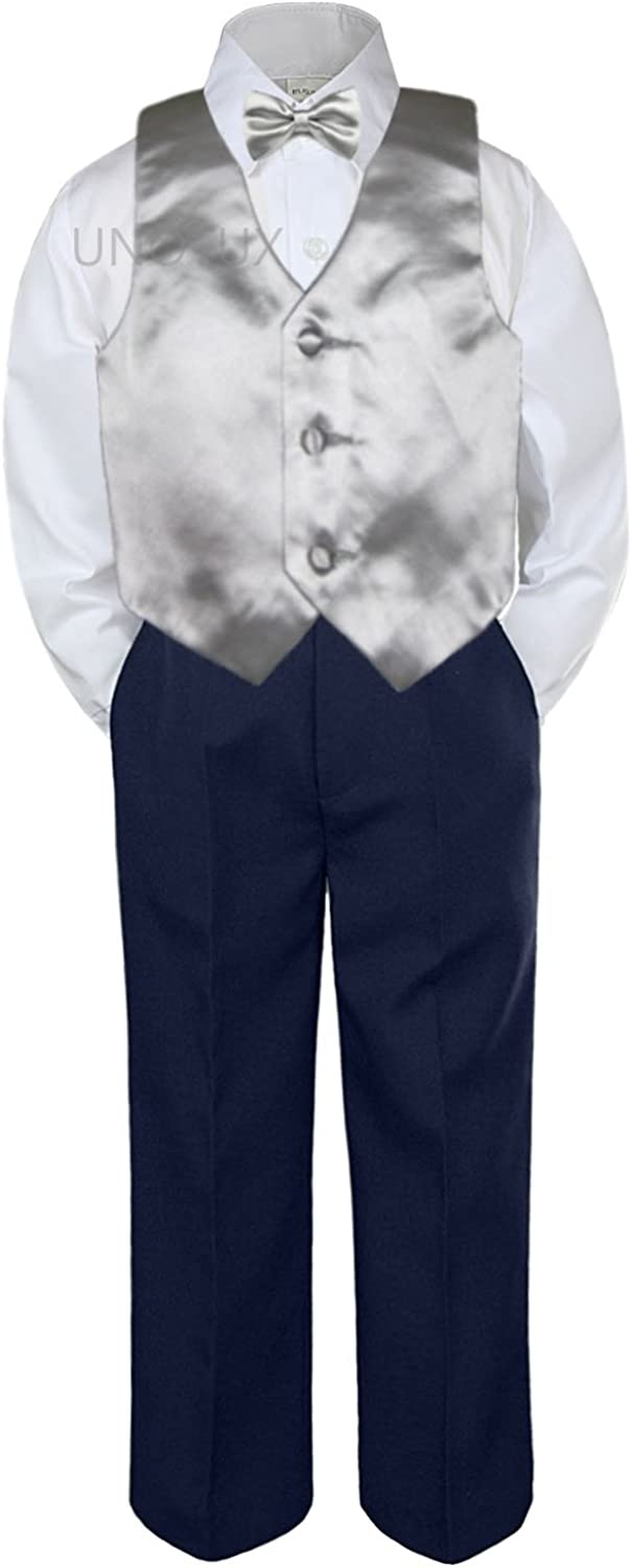 Leadertux 4pc Baby Toddler Boys Champagne Vest Bow Tie Navy Blue Pants Suits S-7 3T
