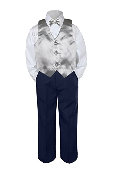 1f7fe52ba8f9 Image Unavailable. Image not available for. Color: Leadertux 4pc Baby  Toddler Boys Silver Vest Bow Tie Navy Blue Pants ...