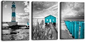 Beach Coastal Canvas Wall Art for Bathroom Bedroom Teal Seacoast Cabin Bridge Lighthouse Black and White Seascape Picture Print Artwork Modern Home Living Room Wall Decoration Decor 12x16 3 Pieces