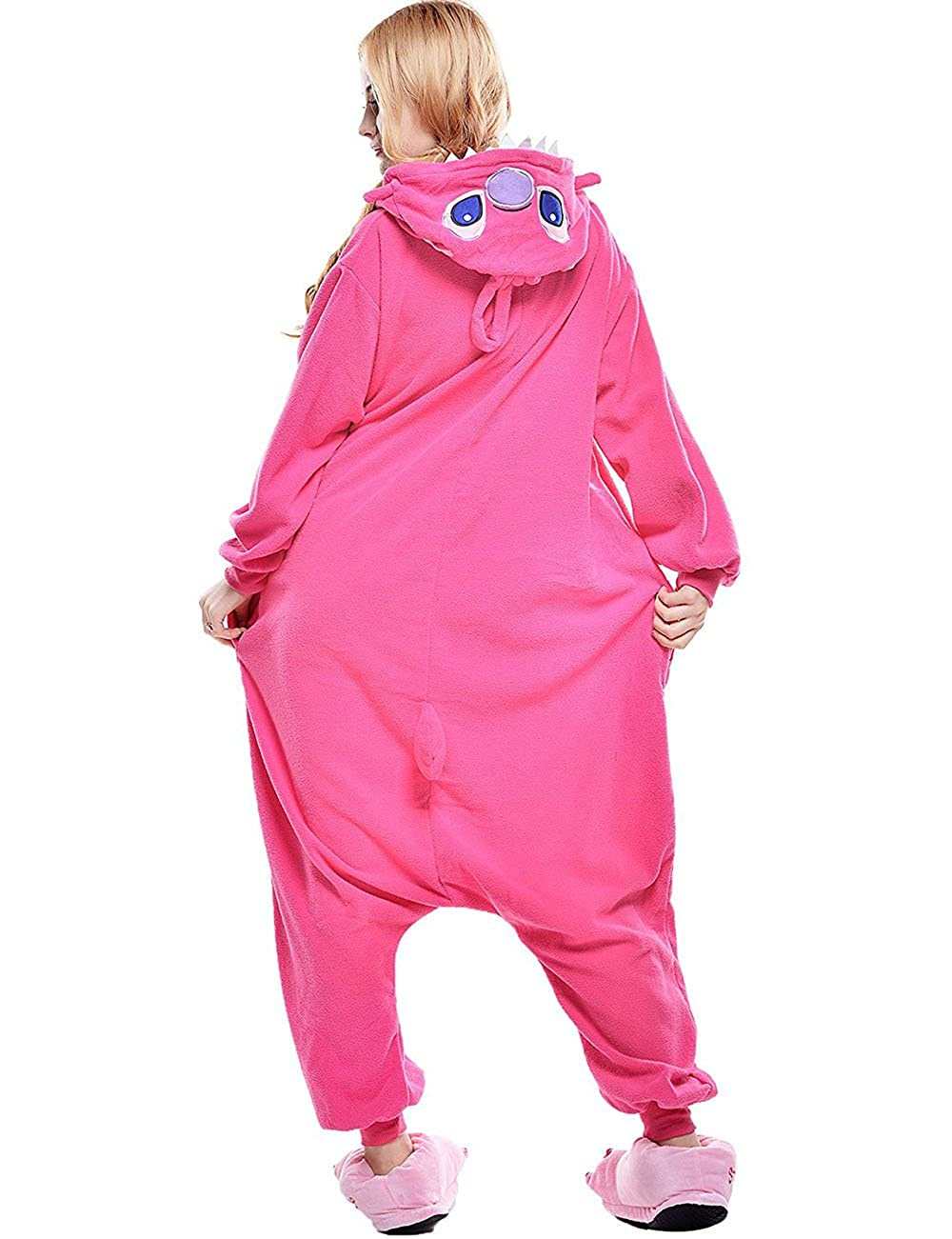 Inverno Caldo Flanella Pigiama Blu Stitch per Adulti Pink L Unisex