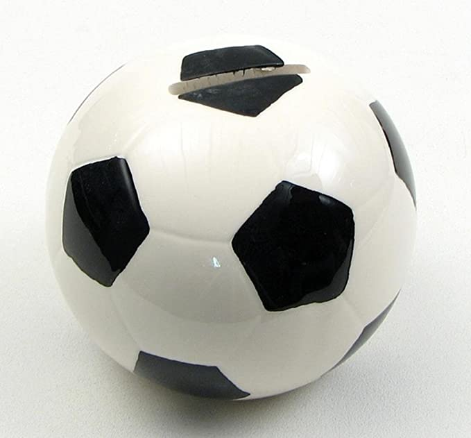 Hucha con forma de balón de fútbol en blanco y negro banco resina ...