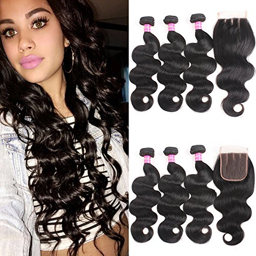 VRBest Hair Brazilian Virgin Hair Bundles With Closure Unprocessed Brazilian Body Wave Human Hair Extensions With Lace Closure Three Part (12 14 16 with 10inch)