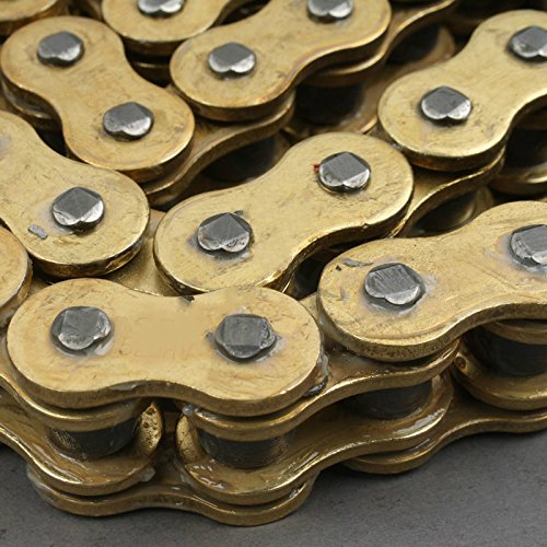 (XFMT Gold Oil-Sealed Custom O-Ring Heavy Duty Drive 428 x 136 Chain Compatible with YAMAHA DT50 2002 DT80 1983-1985 1994 DT125 1982-1985 RD125 1975 1976 XT125 2005 2009 FZR400 1990 1995)