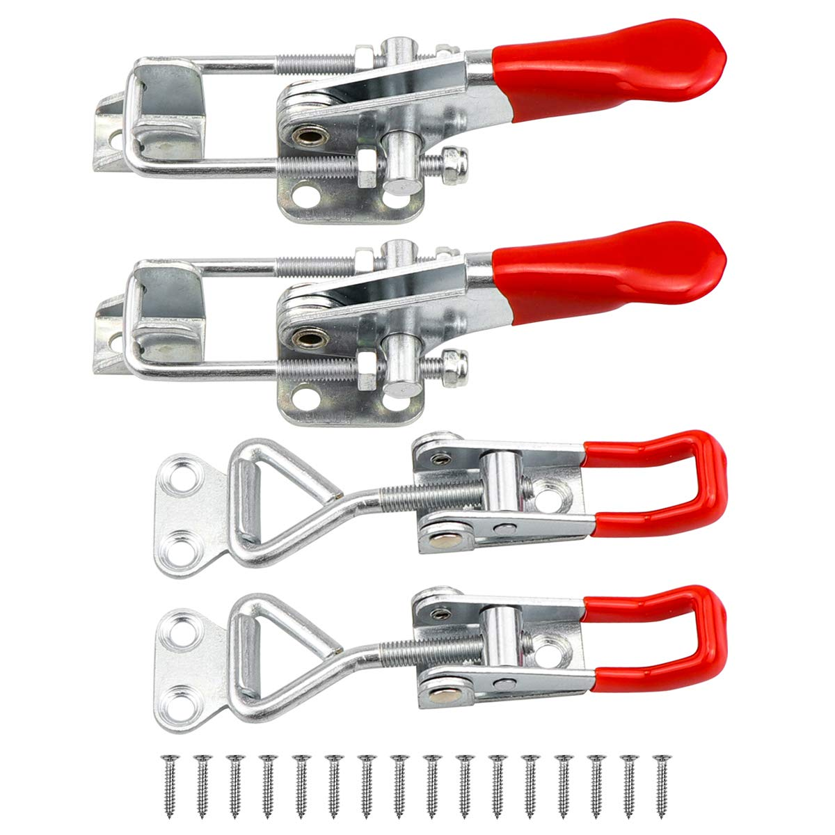Yotako Toggle Clamp,4 Pack Adjustable Metal Draw Pull Latch Quick Release Clamp Heavy Duty 360lbs with 24 Pcs Screws for Smoker Jig Door Box Trailer