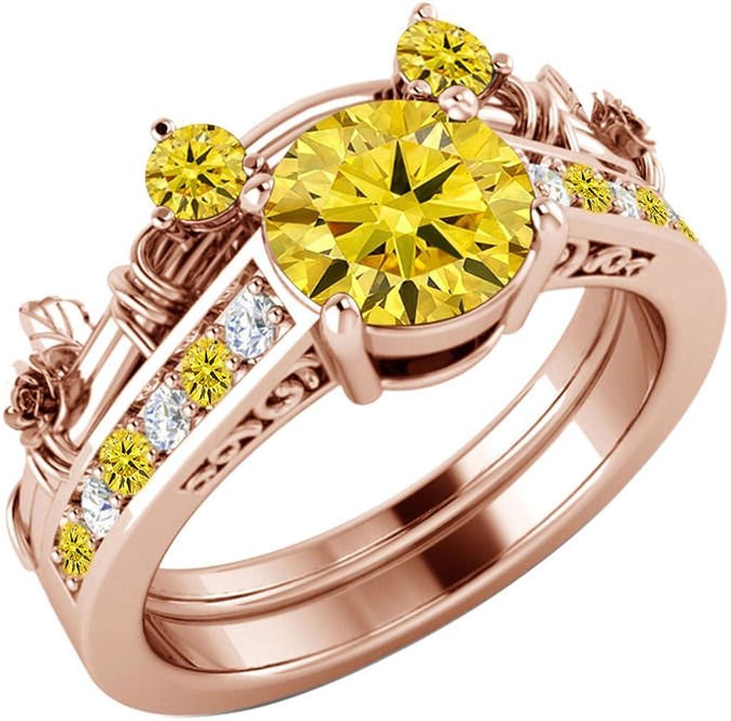 14k Rose Gold Finish Round Cut Citrine Diamond Wedding Engagement Ring 925 Sterling Silver