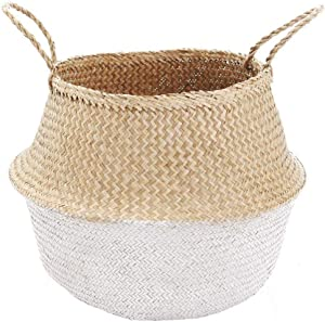 VNCraft Foldable Medium White Bottom Seagrass Belly Basket with Handles for Storage, Nursery Laundry Tote Beach Bag Plant Pots Cover Indoor Decorative