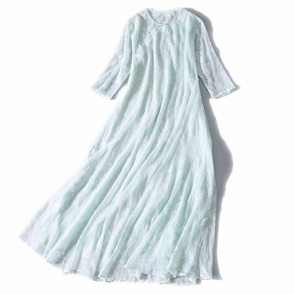 The fall of Chinese folk style dress dress Zen tea clothing long in Hanfu,S,Light green