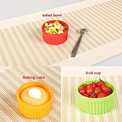 Silicone Ramekins, Oven Safe Baking Dish Ramekins, 3 Assorted Sizes for Baking Souffle Custard Pudding Desserts
