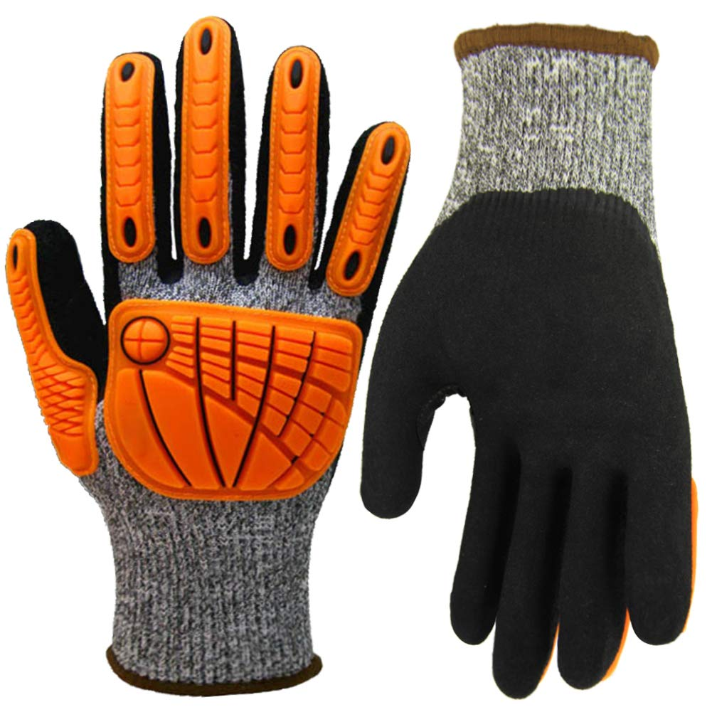 Impact Reducing Safety Gloves, Grip Coating Cut Resistant Work Gloves, Hands Protective for Mechanic Garden Construction Auto Industry Multipurpose (X-Large, Impact Reducing Gloves) by Hanhelp safety (Image #1)