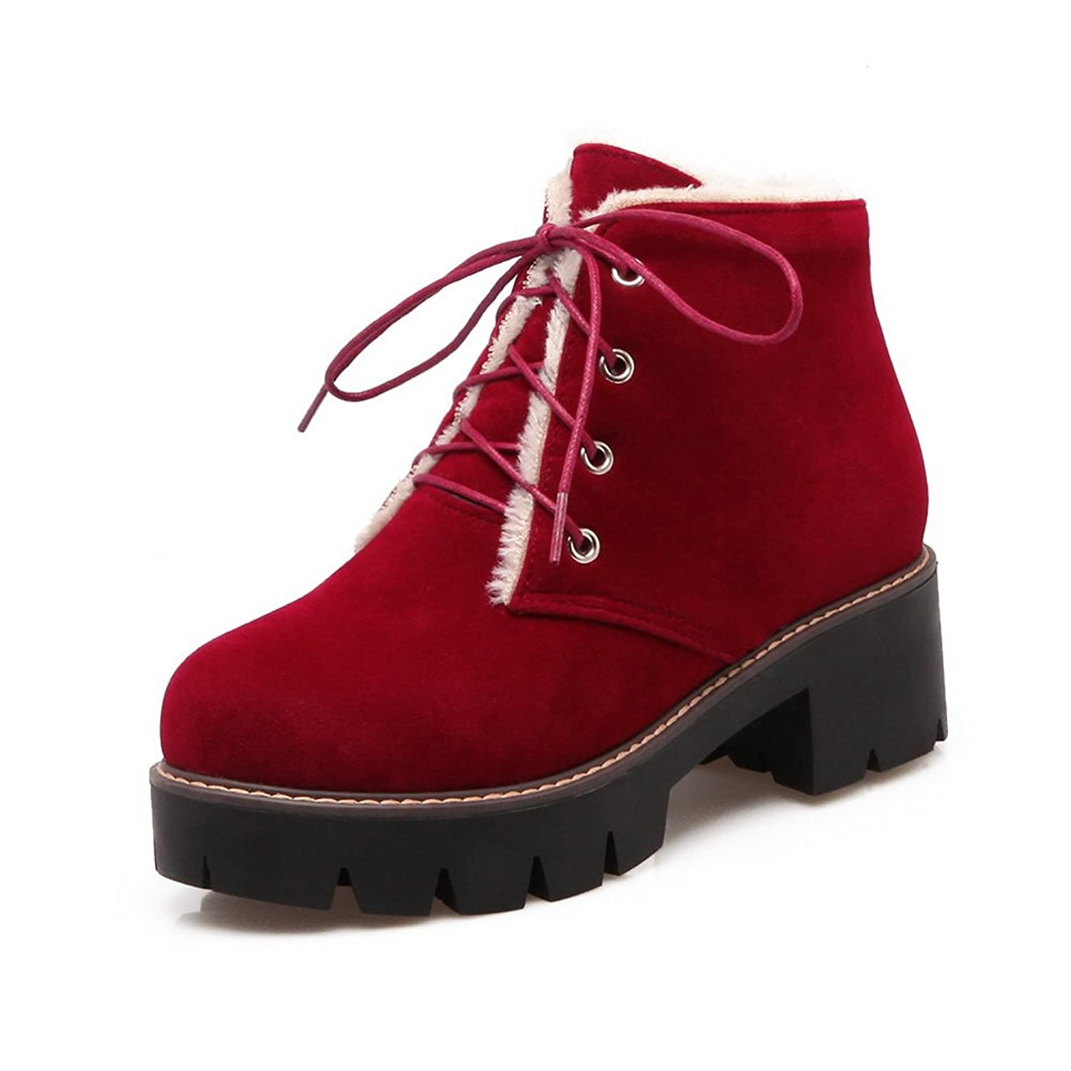 AdeeSu Womens Outdoor Lace-Up Ankle-High Platform Suede Boots SXC02417