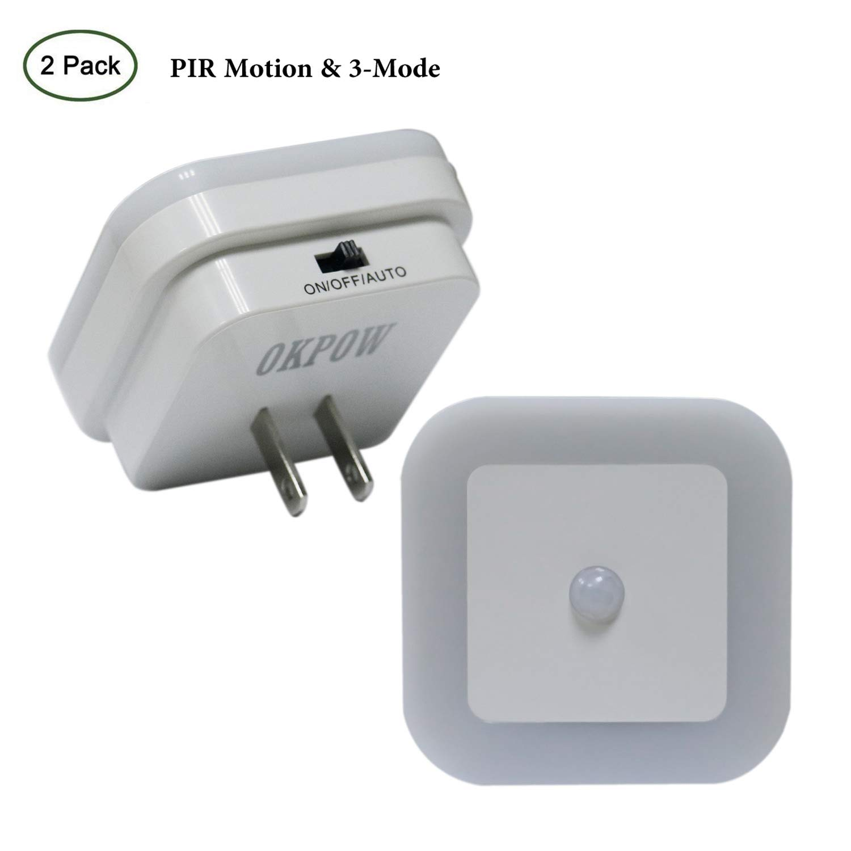 Okpow 3 Modes Motion Sensor Led Night Light 2 Pack Baby Way Switch Stays On