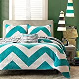 4pc Girls Blue Chevron Themed Quilt Full Queen Set, Gorgeous Contemporary, Pretty Vibrant Grey White Turquoise, Zig Zag, Adorable V Shape Striped Bedding
