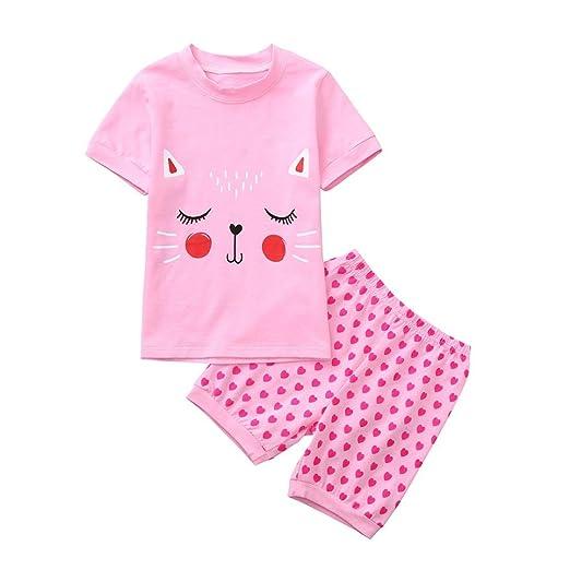 5b72b66ec Vincent&July Toddler Baby Girls Cartoon Cat Print Tops+Heart Print Shorts  Outfits Set (3T