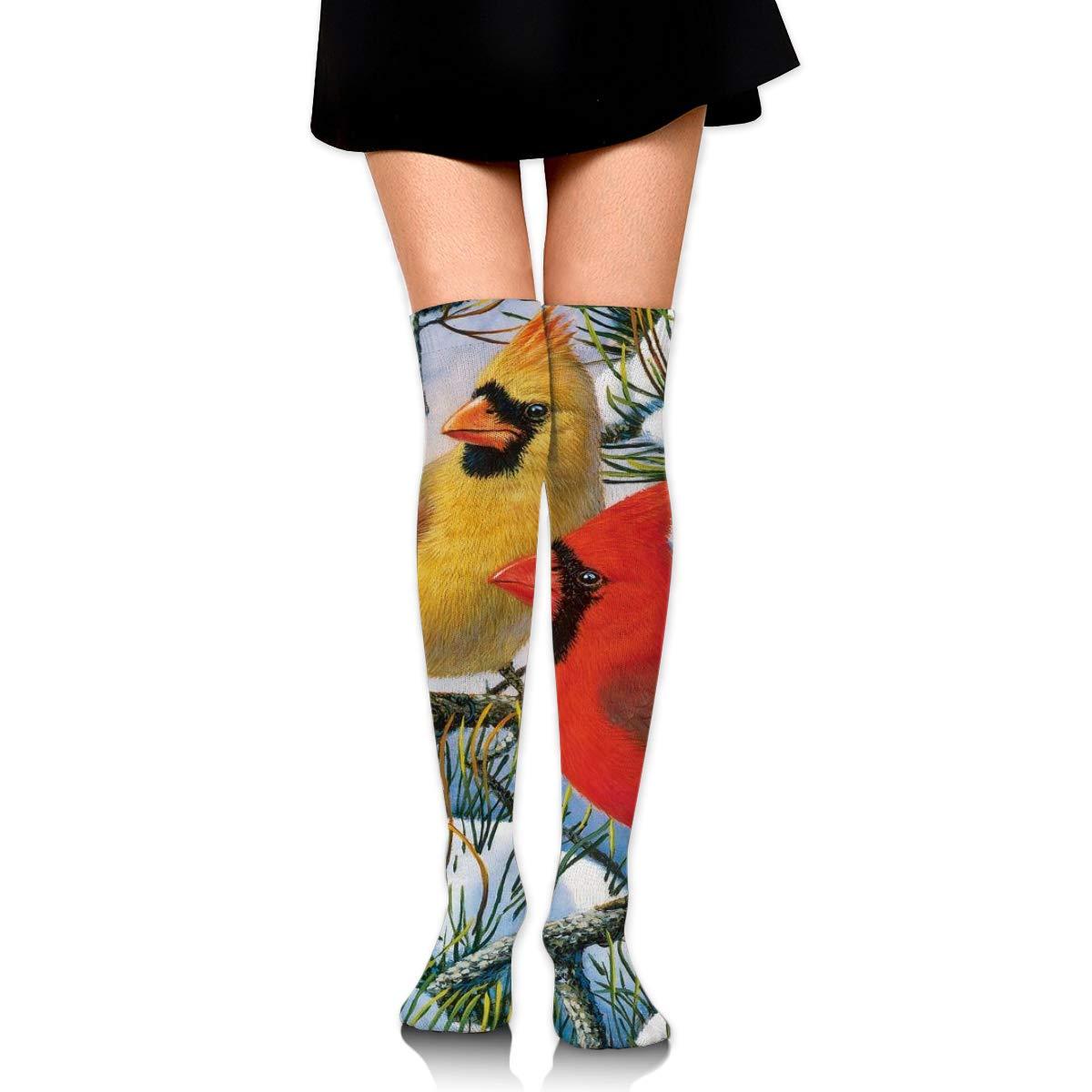 Kjaoi Girl Skirt Socks Uniform Winter Lovely Cardinal Bird Women Tube Socks Compression Socks