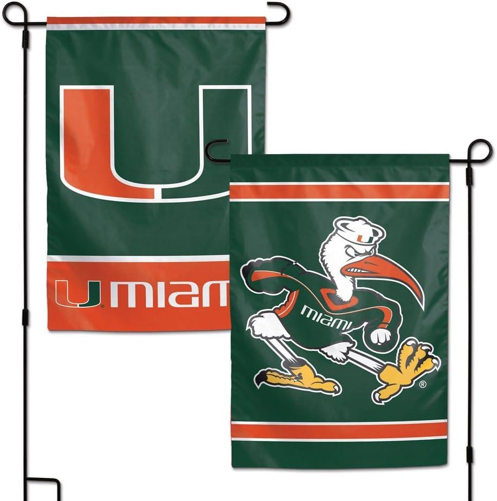 """WinCraft NCAA Miami Hurricanes Garden Flag, 11""""x15"""", Team Color"""