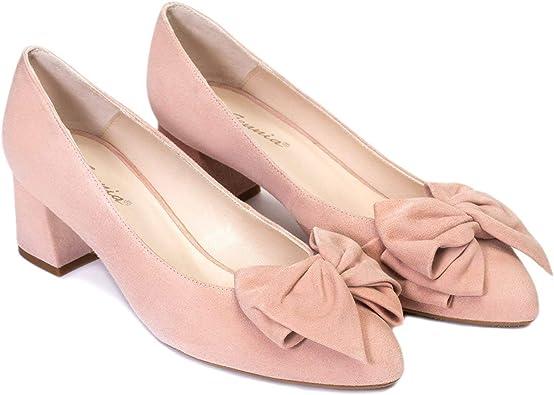 Kiara - Salones Elegantes de Vestir para Mujer en Piel con LazoPunta Fina - Hechos en España - Tacon Bajo Ancho 5 cm - Moda Zapatos Tacones Casual - Piel: Amazon.es: Zapatos y complementos