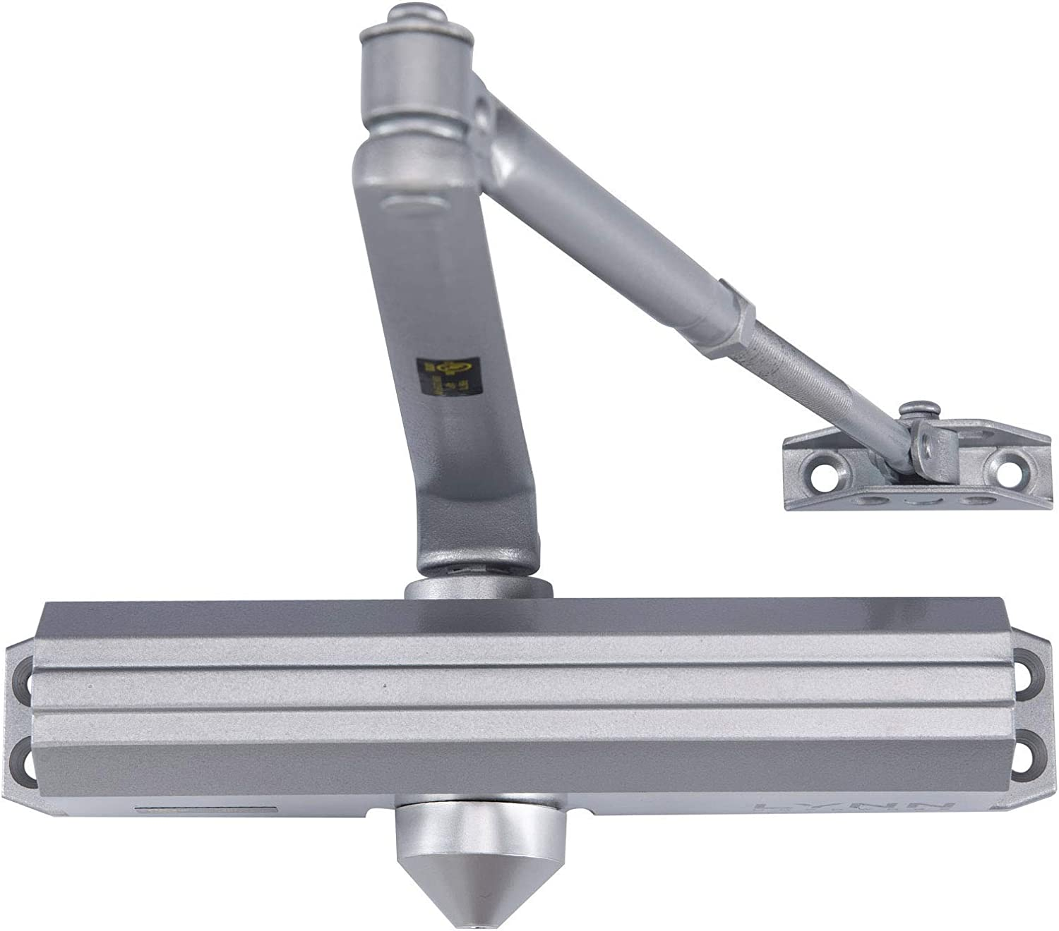 Medium/Heavy Duty Designer Commercial Door Closer - LYNN Hardware DC7016 (US26D Aluminum) Surface Mounted, Grade 1- ADA & UL 3 Hour Fire Rated, Adjustable Size 1-6 for entrances & Aluminum storefronts