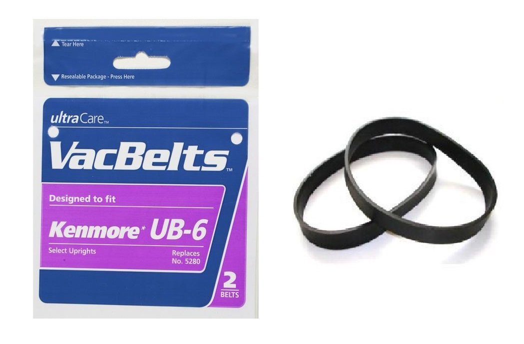 2 Sears Kenmore Style UB-6 Upright Vacuum Cleaner Belts for Select Uprights. Replaces 20-5280, 5280. 2pk