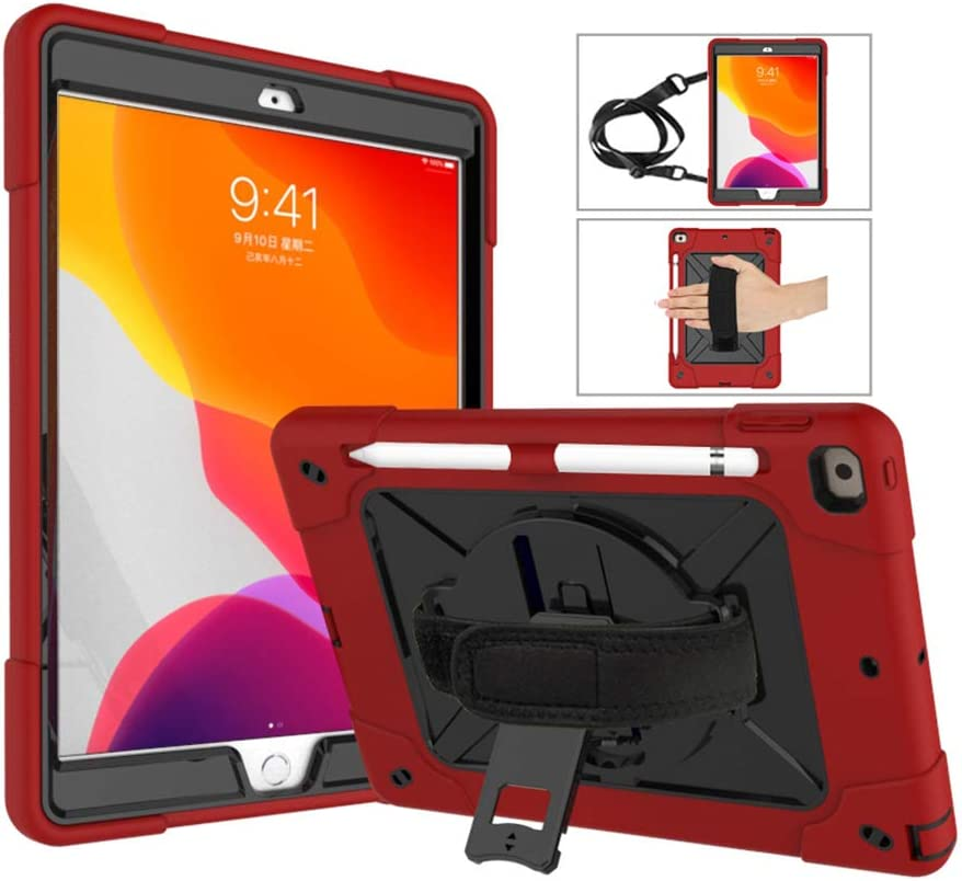 A-BEAUTY Case for iPad 8/7 (10.2-Inch, 2020/2019 Model, 8th / 7th Generation), with [Screen Protector] [Pen] [Pencil Holder] [Handstrap Shoulder], Red Black