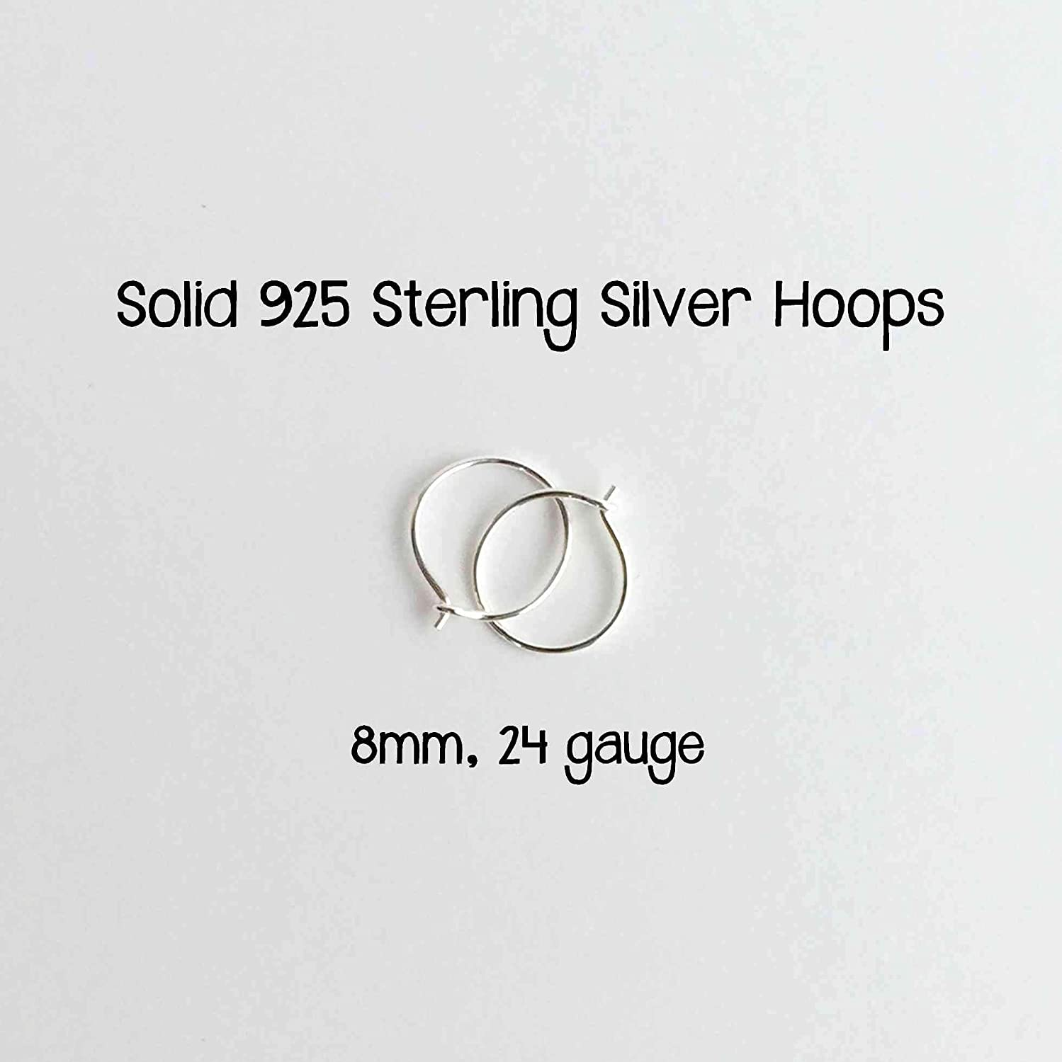 Mini Sterling Silver Hoops 8mm 24 Gauge (Extra Thin Hoops)