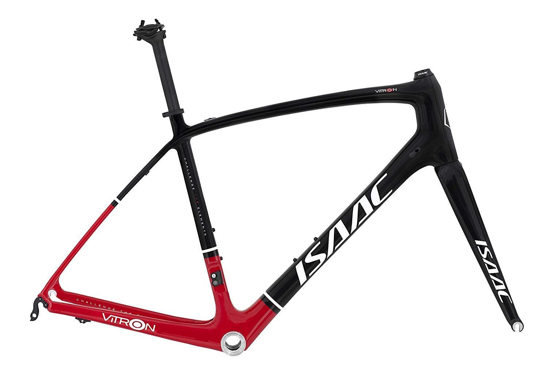 *ISAAC*〈VITRON〉700C ロード フレームセット 全カーボン バイク Road Bike  黒 / 赤 B07S72G672