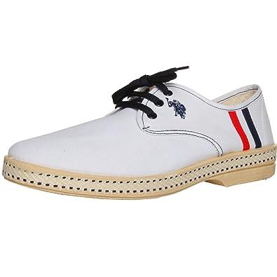 U.S. Polo - Zapatos de Cordones de Lona para Hombre Blanco Weiß ...