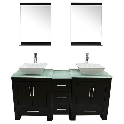 Amazon Com Walcut 60 Double Black Wood Bathroom Vanity With 2