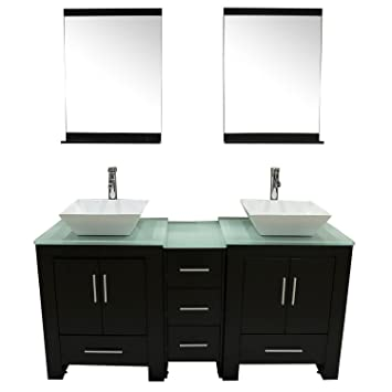 Walcut Luxury 60quot Modern Double Ceramic Sink Solid Wood Bathroom Vanity Cabinet With Mirror And