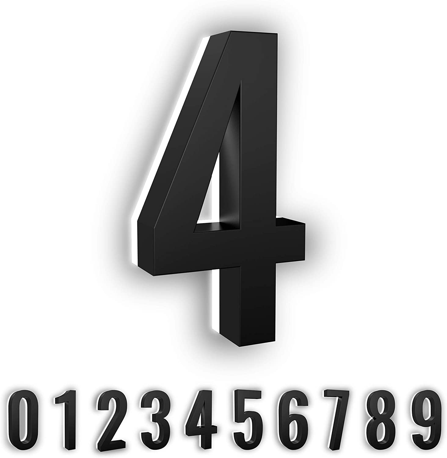 7-Inch Low-Voltage Backlit LED Address Numbers by LN LUMANUMBERS, Durable Brushed Steel Lighted House Numbers, Weather-Proof, Modern Illuminated Floating Numbers (Black, 4)