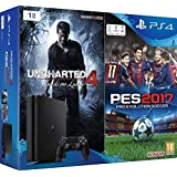 Console PlayStation 4 1 Tb D Chassis Slim + Pro Evolution Soccer 2017 + Uncharted 4
