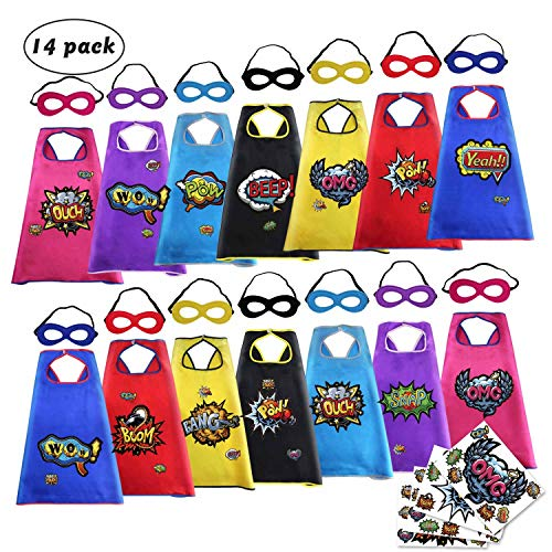Super Hero Capes and Masks for Kids Bulk-Boys Girls Superhero Dress Up Costume Party Supplies with Stickers,14 Pack