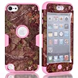 Lantier For iPod Touch 5 Case,Hybrid 3 Layers Hard Cover with Silicone Shell Inside Case Plastic TUFF Camo Triple Quakeproof Drop Resistance Protective for iPod Touch 5 5th Generation with Screen Protector and Stylus Pen Palm Branches/Pink