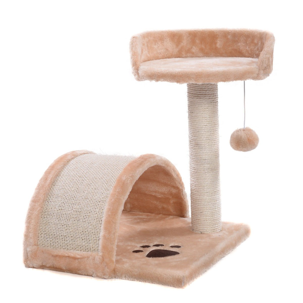NEW! Cat Tree Post Scratcher Furniture Play House Pet Bed Kitten Toy Beige
