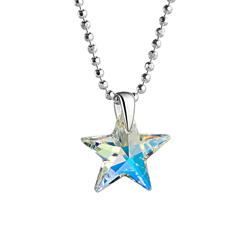 butterfly Enfant Fille Cha/îne Argent Sterling 925 Swarovski Elements Originaux /Étoile Crystal Longueur R/églable Pochette /à Bijoux Cadeau Filles Enfants