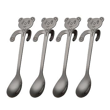 Acero inoxidable cucharillas, niceEshop (TM) 4pcs Cute Panda colgante café cuchara cucharilla cuchara de azúcar hielo crema cuchara del desierto, ...