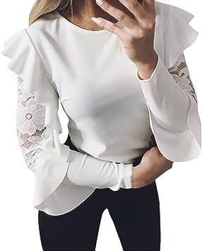 Blusa tipo túnica de encaje y manga larga para mujer, camisa ...