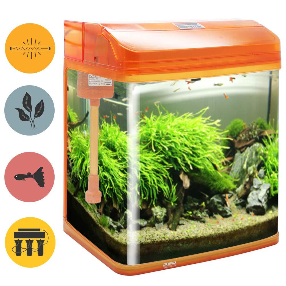BPS Kit de Acuario con Iluminación LED Bomba Filtro y Accesorios para Pecera Peces (L: 38x26x47 cm, Negro) BPS-6005NE: Amazon.es: Productos para mascotas