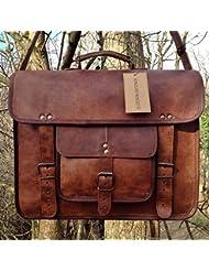 Gbag (T) Vintage Leather Laptop Bag 15 Messenger Briefcase Crossbody Shoulder Satchel Bag
