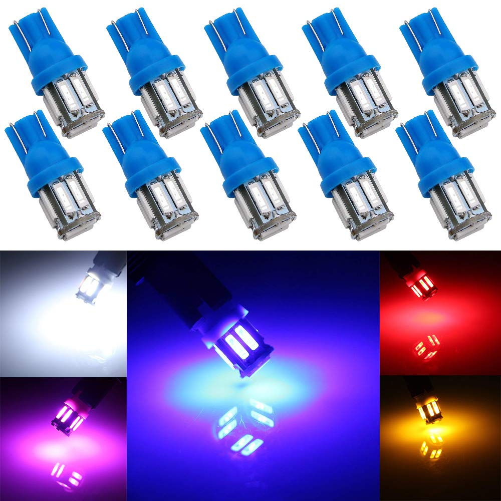 Grandview 10pcs Super Bright Blue T10 501 W5W 194 168 2825 Wedge T10 LED Bulbs with 10-7014-SMD for Car Interior Dome Map Door Dashboard Trunk Courtesy License Plate Lights(DC 12V)