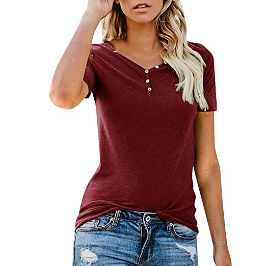 Amazon.com: YKARITIANNA Summer New Fashion Womens Solid Blouse V-Neck Short Sleeve Button Blouse T-Shirt: Arts, Crafts & Sewing