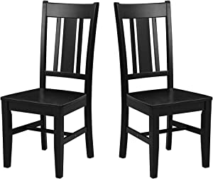 "Amazon Brand – Ravenna Home Classic-Style Solid Pine Dining Chair, 40""H, Black Finish, Set of 2"
