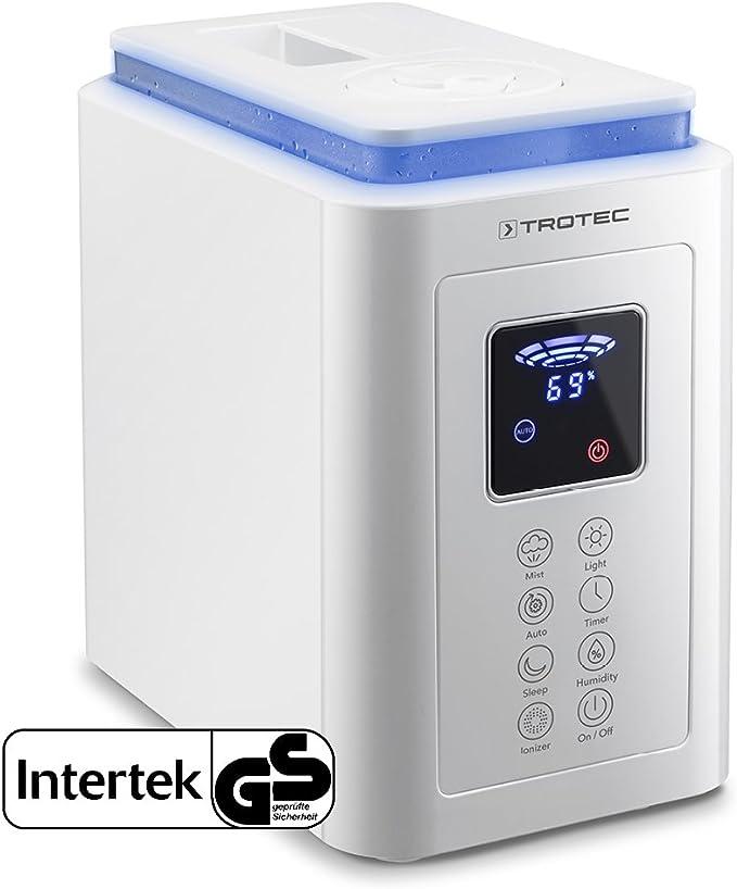 TROTEC Humidificador ultrasónico B 5 E, 2-en-1 humidificador y purificador de Aire, 3 Niveles Ajustables de Intensidad de nebulización, Oficina, bebé, hogar, Dormitorio y baño, etc: Amazon.es: Hogar