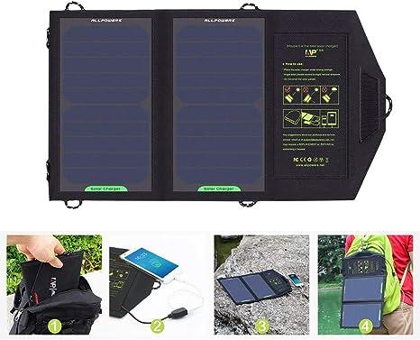 H&T Panel Solar, Panel Solar De 10W 5V con Puerto USB Cargador ...
