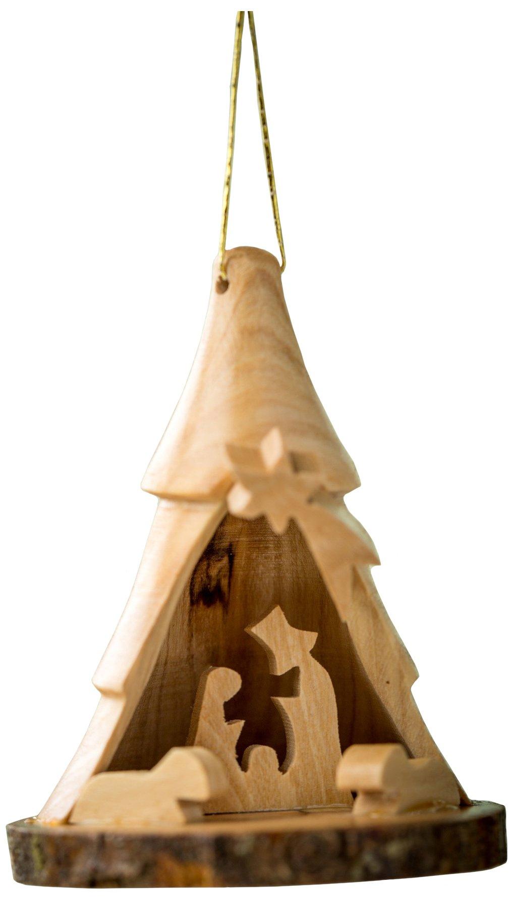 Earthwood Olive Wood Bark 3D Tree with Nativity