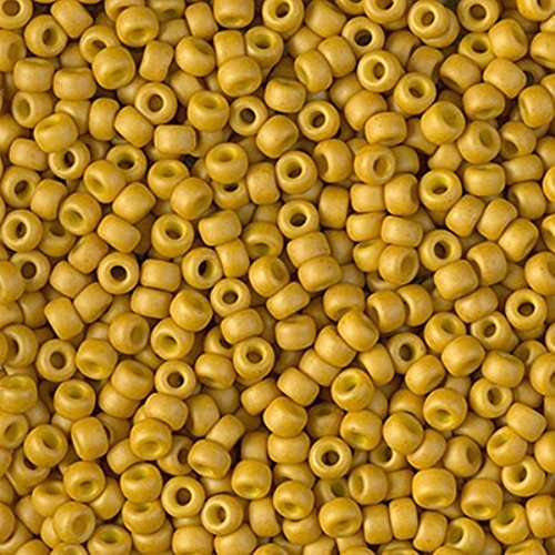 Miyuki Round Rocailles Size 8/0 Seed Beads Matte Opaque Mustard Approx 24 Gram Tube