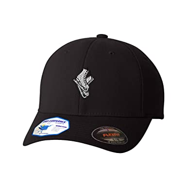 Flexfit Baseball Cap Skate Shoes Embroidery Team Name Polyester Hat Elastic - Black, Small/