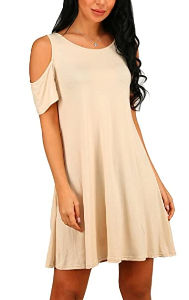 dc4e8748b3 PCEAIIH Women's Summer Cold Shoulder Tunic Top Swing Dresses Loose T-Shirt  Casual Dress with Pockets (X-Large, Beige): Amazon.co.uk: Clothing