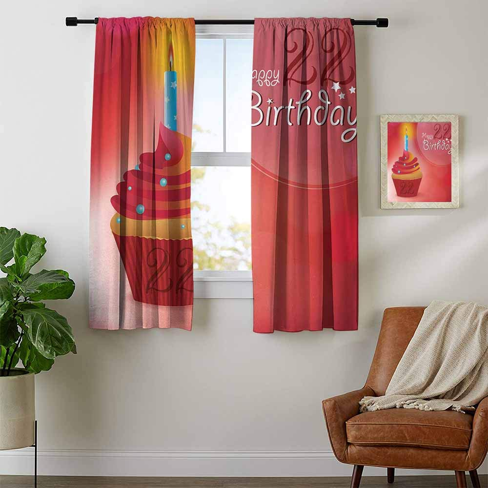 youpinnong 22nd Birthday, Curtains Sliding Glass Doors, Cute Cupcake with Candles Romantic Celebration Themed Illustration, Curtains Girls Room, W72 x L45 Inch Red Scarlet Blue by youpinnong