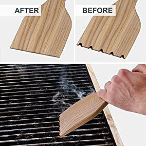 Tibres - Wood Grill Scraper - Safe BBQ Cleaner with Wooden Handle on All Types of Grills - Removes Burnt on Residue and Gets Grill Clean