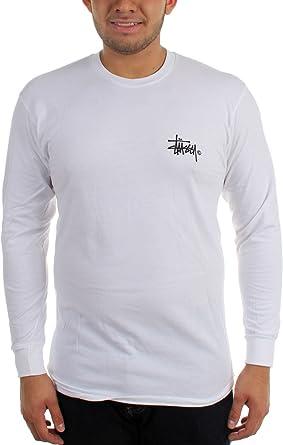 Stussy Basic camiseta de manga larga Logo Blanco: Amazon.es: Ropa y accesorios